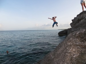 Student jumping off of High Rock