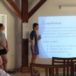 Students Anthony Fiori, Samantha Haino, and Jasmine Waite presenting for CEI staff & visitors.
