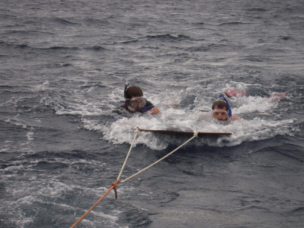 Students test out the Manta Tow during a search for aggregate grouper spawning site with Sustainable Fisheries