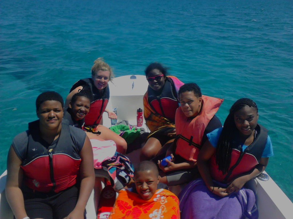 Students on the boat ready for their sea turtle abundance surveys.
