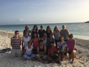 Earthwatch Volunteers, Leaders and Interns enjoy each others company at a farewell beach bbq