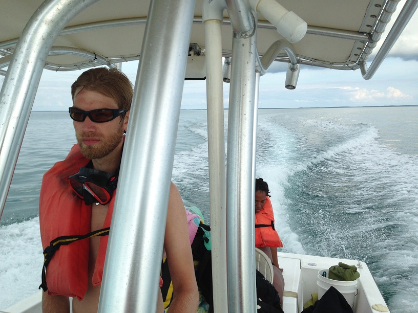 The team out on the boat, simulating acoustic pollution near experimental reefs