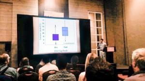 Brendan Talwar presenting his thesis research at the American Elasmobranch Society meeting.