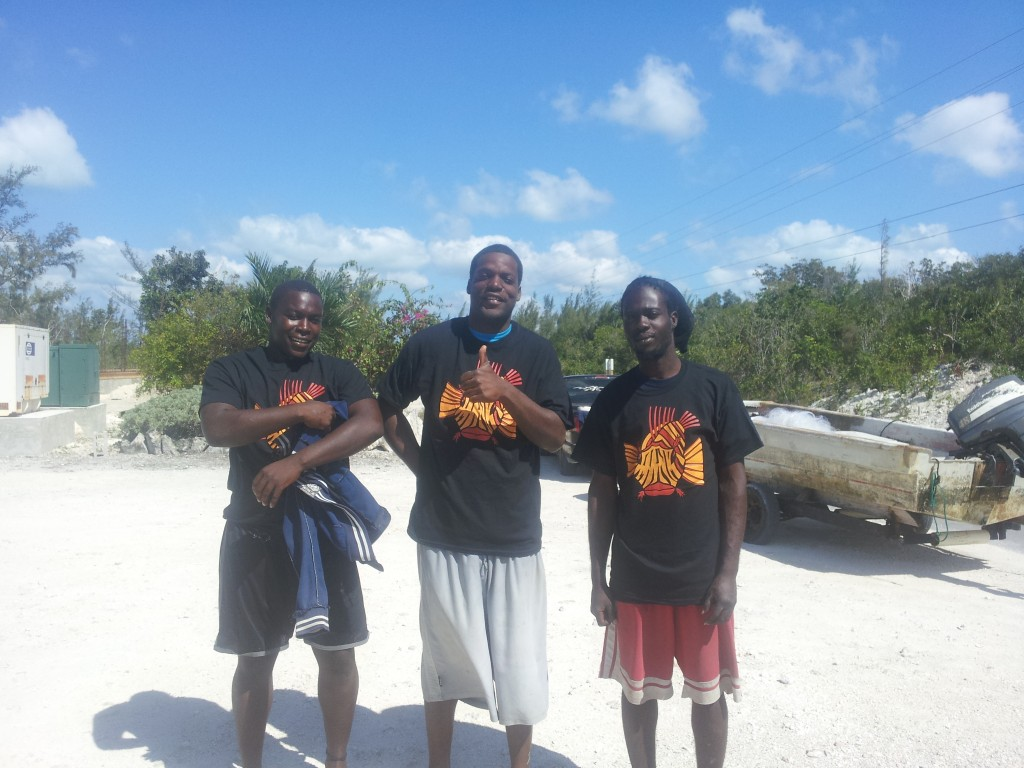 Rock Sound Lionfish Slayers wearing their well earned slayer t-shirts