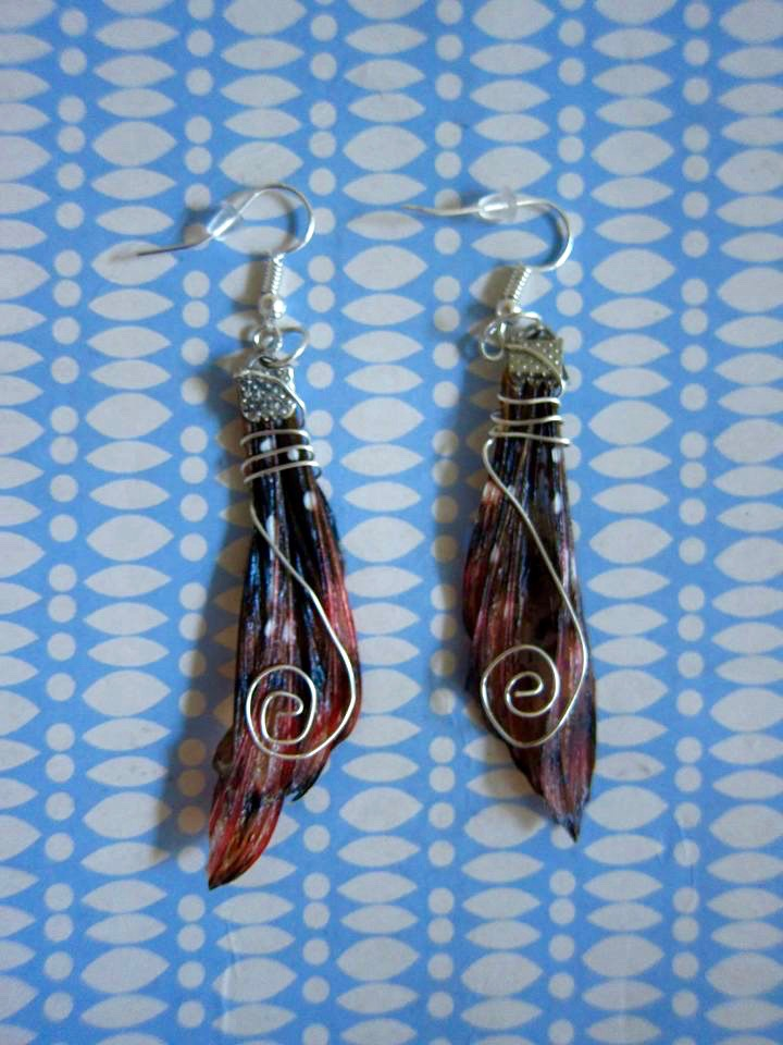 Lionfish earrings made by Helen Conlon during the jewelry workshop put on by Holly Burrows.