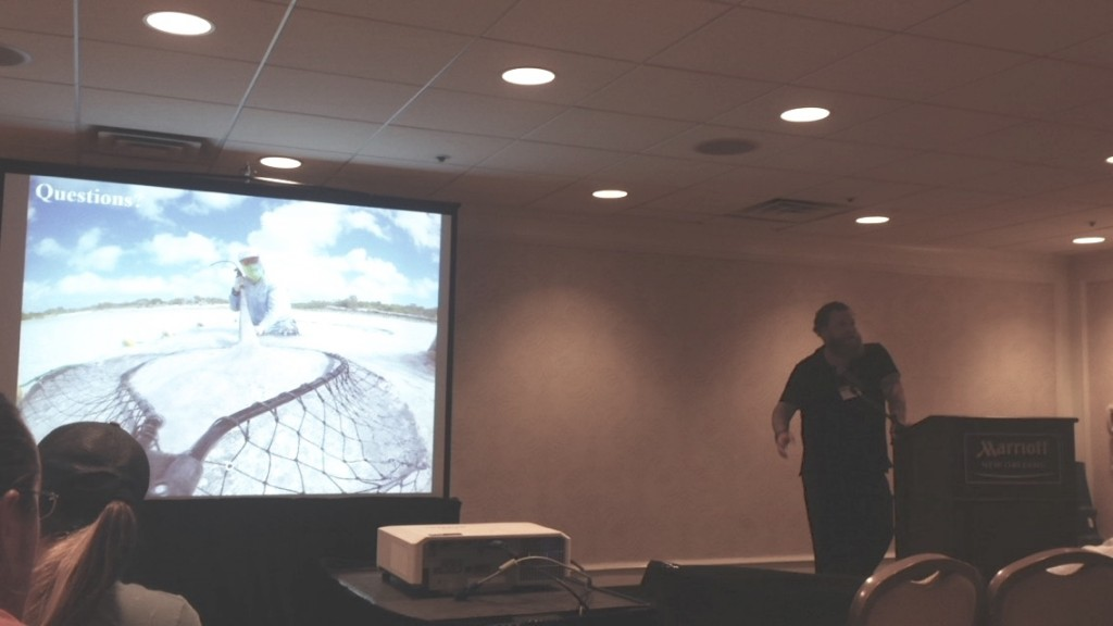 Dr, Owen O'Shea during his presentation on Caribbean whiptail stingrays