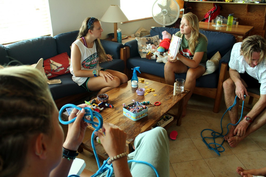 Interns housed on campus broke out the games and knot-tying skills today