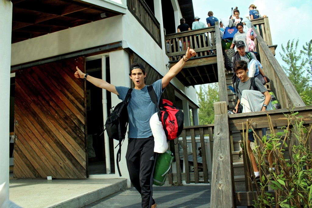 Island School and Gap Year students excitedly emerge from the Center for Sustainable Development