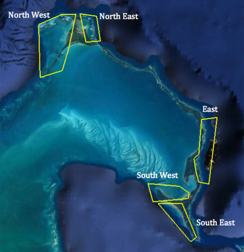 Map of five regions dividing Eleuthera into North East (6 tagged fish), North West (6 tagged fish), East (10 tagged fish), South West (4 tagged fish), and South East (13 tagged fish)